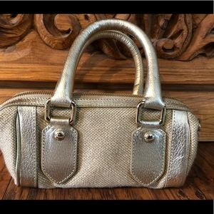 Burberry Bags - Authentic Burberry rattan leather gold satchel bag
